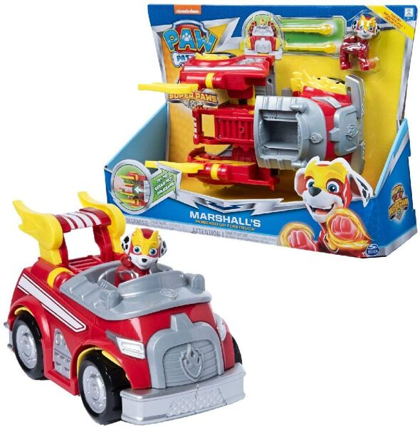 PAW Patrol Mighty Pups Super PAWs Marshall's Powered Up Fire Engine Transforming Vehicle